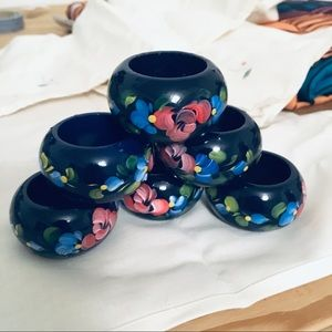 Other - Hand Painted Rustic Wooden Napkin Rings